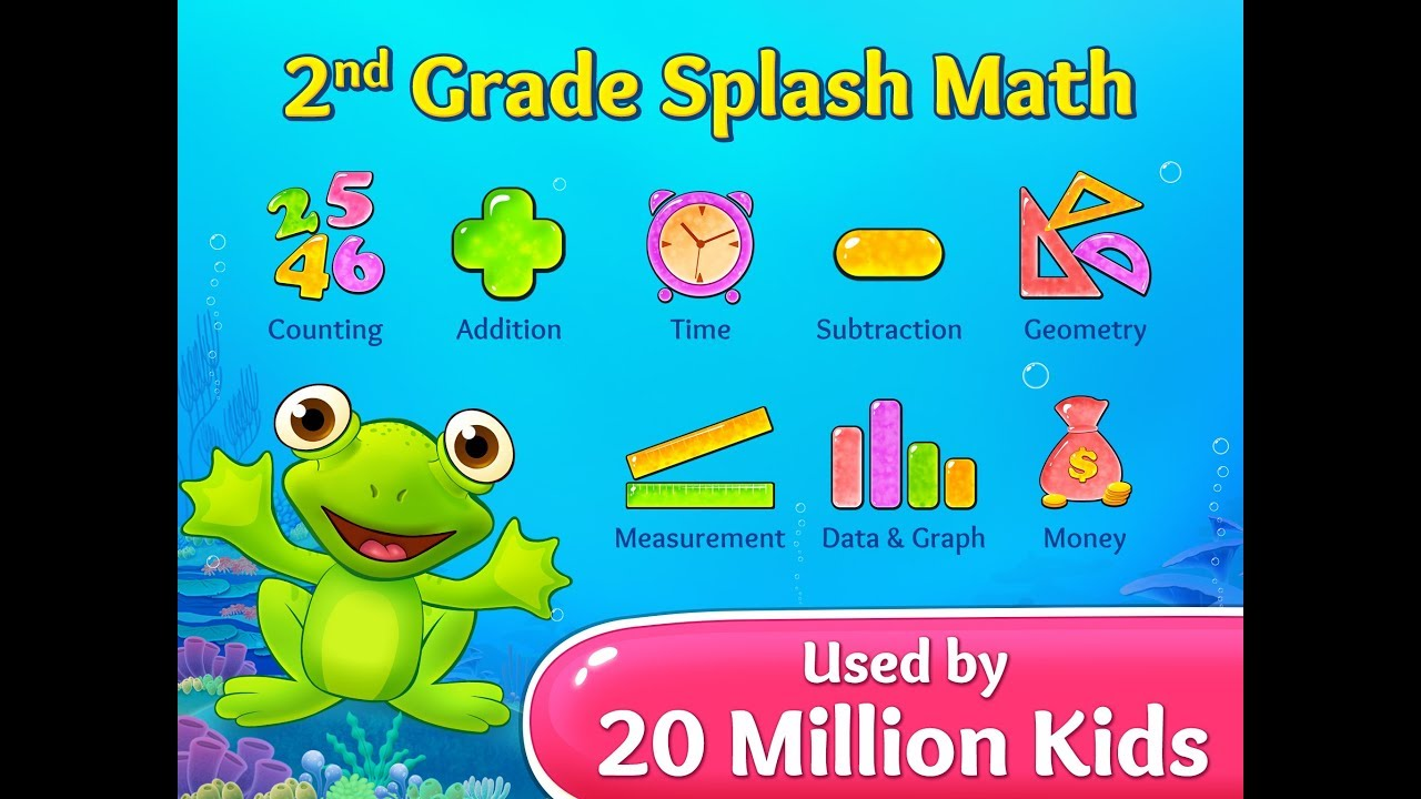2nd Grade Splash Math Games  Cool worksheets for kids to learn addition,  subtraction and geometry
