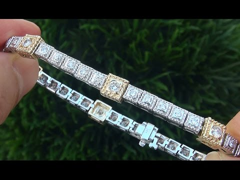 estate-certified-vs2/g-natural-diamond-14k-white-and-yellow-gold-tennis-cocktail-bracelet---c640