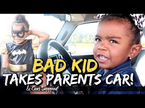 Bad 3 Year Old Driving Parents Car!! - Halloween Costume Shopping #MimiTober