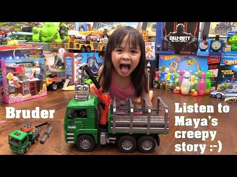 Kids' Toy Channel: Unboxing a Toy Truck! Bruder MAN Log Truck with Crane + Maya's Storytelling