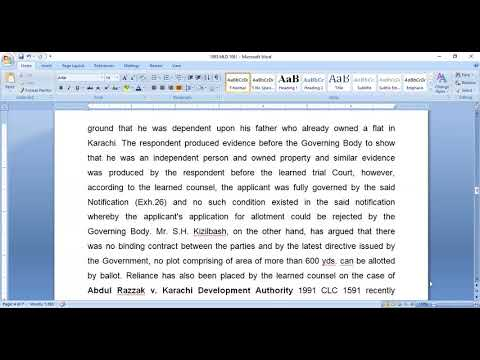 IV. CASE LAW: KARACHI DEVELOPMENT AUTHORITY  Vs ALI MUHAMMAD 1993 M L D 1061 [Karachi ]