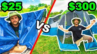 Walmart CHEAP vs EXPENSIVE Budget OVERNIGHT Camping CHALLENGE!!! (Backyard Edition)