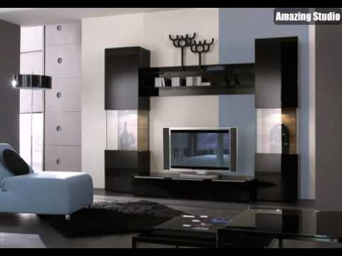 exklusive tv m bel in dunkler farbe youtube. Black Bedroom Furniture Sets. Home Design Ideas