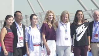 Stefanie Graf & Caroline Garcia Mini Tennis On Hong Kong-Zhuhai-Macao Bridge