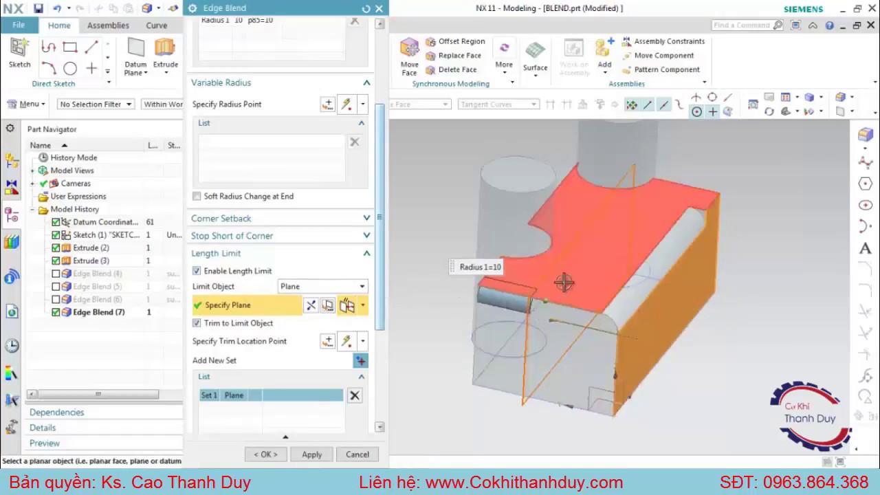 Phương pháp Vo góc Blend – Vát Chamfer và Hiệu chỉnh đối tượng 3D phần mềm NX [Tuyệt chiêu 33]