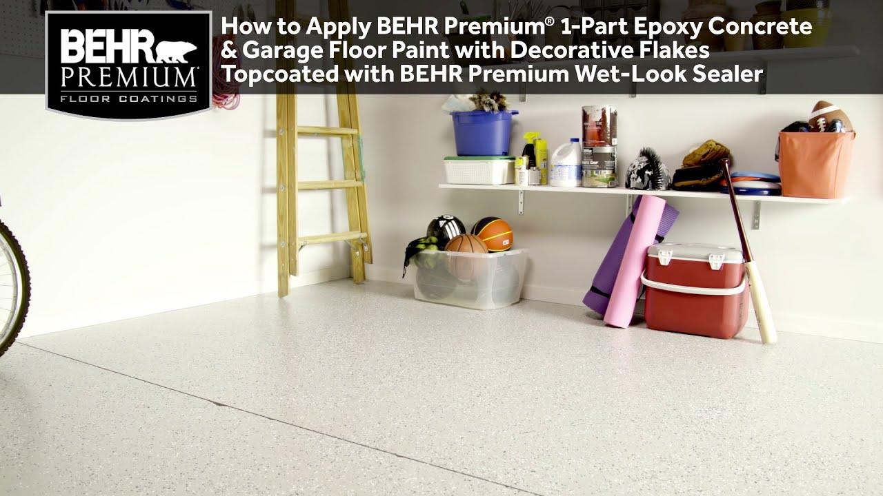 How To Ly Behr Premium 1 Part Epoxy Concrete Garage Floor Paint W Decorative Flakes And Sealer