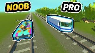 NOOB vs PRO Drag Racing with Trains!! (Scrap Mechanic Gameplay)