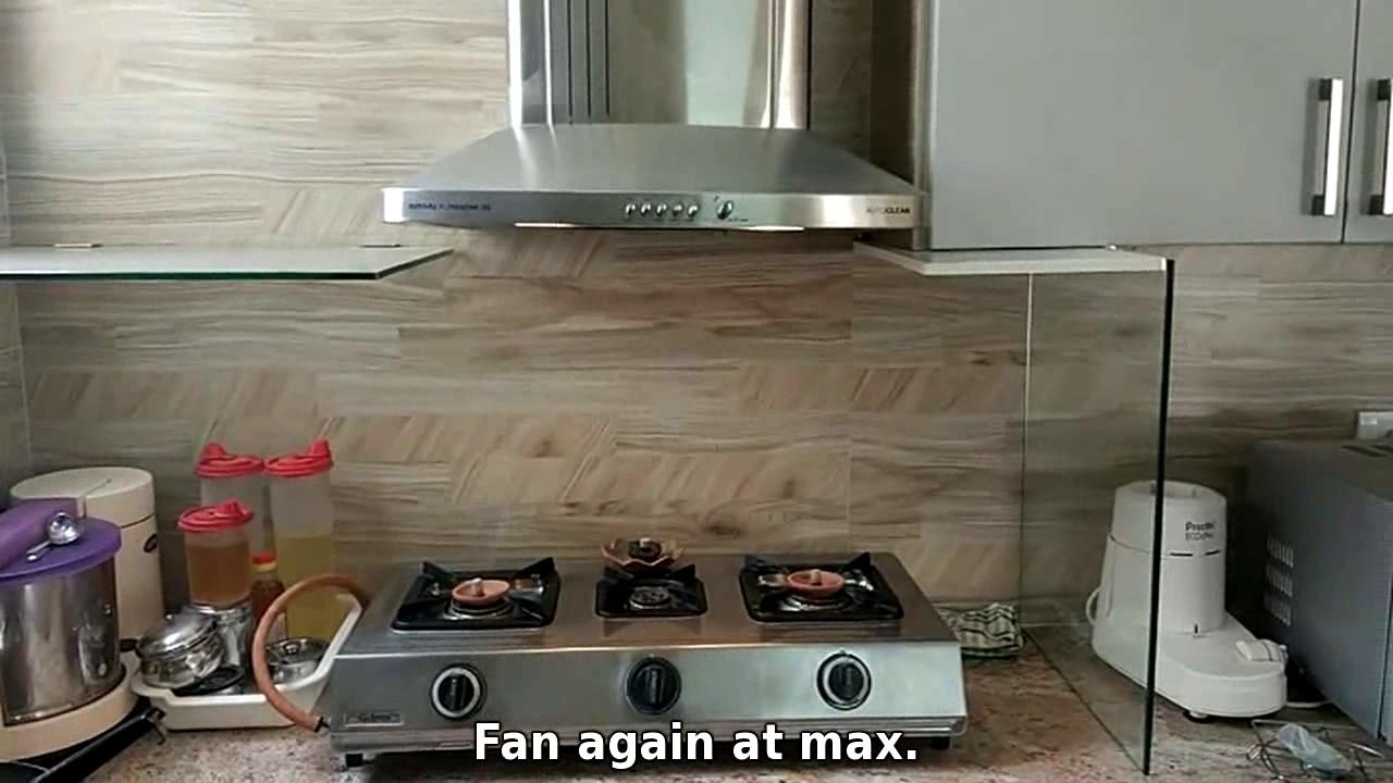 Indian kitchen chimney design - Kitchen Chimney Hood Smoke Test For Oily Indian Cooking Kutchina