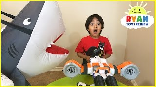 Giant Pet Shark Attack Ryan! Family Fun playing chase Activities for kids