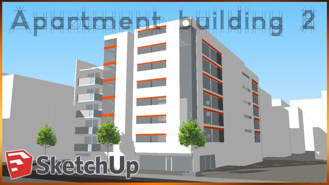 sketchup apartment building 2 sketchup speedbuild youtube. Black Bedroom Furniture Sets. Home Design Ideas