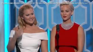 Jennifer Lawrence e Amy Schumer apresentam clipes de seus filmes no Globo de Ouro 2016 [LEGENDADO]