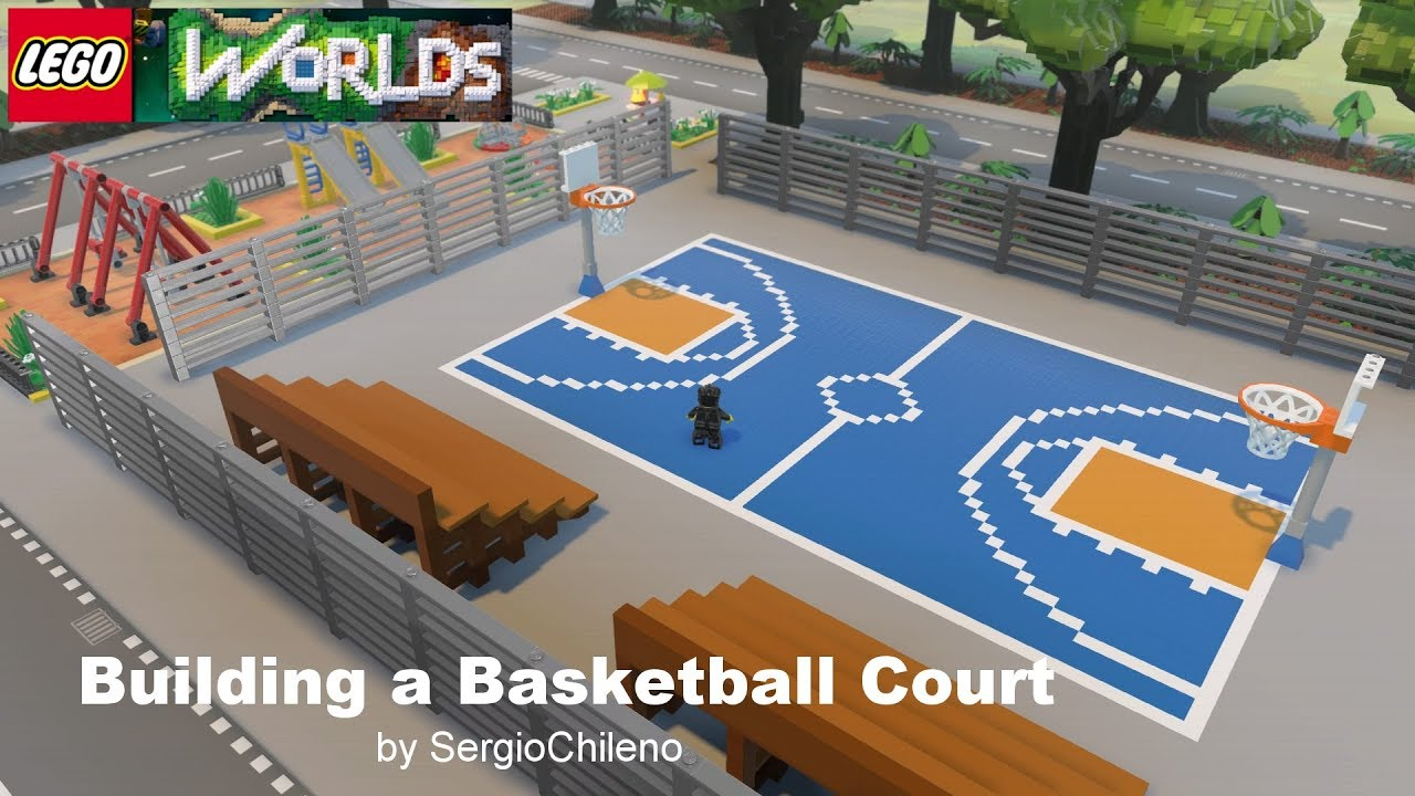 Lego worlds building a basketball court youtube for Building a basketball court