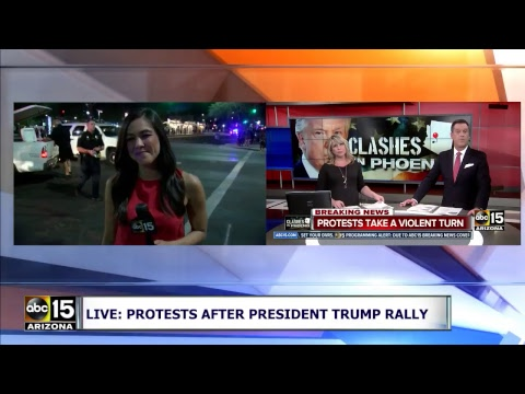 FULL RAW: VIOLENT PROTEST! Tear gas deployed outside Trump rally in Phoenix, Arizona