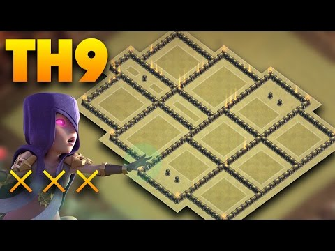TH9 War Base 2017 Anti 3 Star   Defense Against Witch Slap, Lavaloon, Goboho   Clash Of Clans