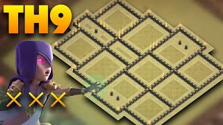 TH9 War Base 2017 Anti 3 Star | Defense Against Witch Slap, Lavaloon, Goboho | Clash Of Clans