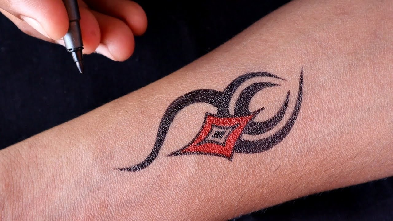 Simple Tattoo Design Make Your Self At Home With Pen Youtube The plane's wings and tail can be seen clearly. simple tattoo design make your self at home with pen