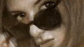 The Gaze - Pretty Girl Sepia drawing