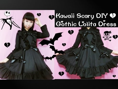 Kawaii Scary DIY - How To Sew Gothic Lolita Dress(curtain style front skirt) (Easy)