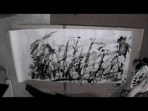 Sumi-e / ink wash painting - Dangerous wind