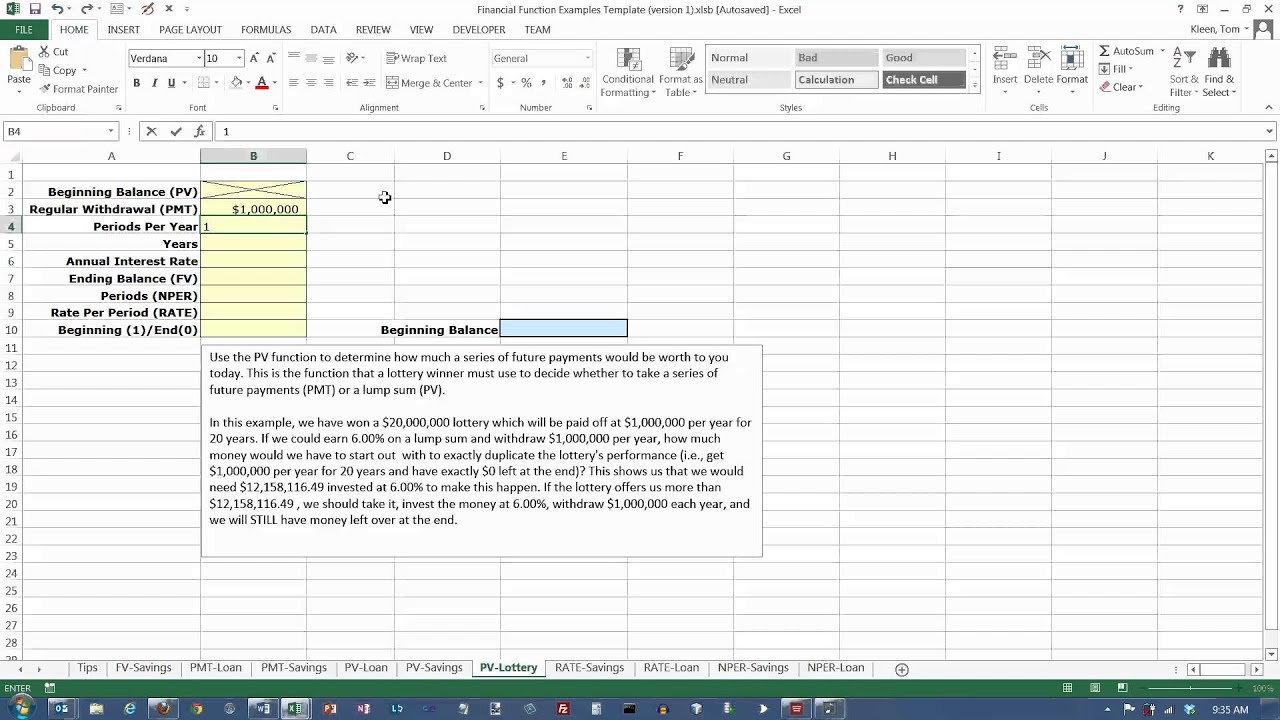 Excel 2013: The PV (Present Value) Function and Winning the Lottery