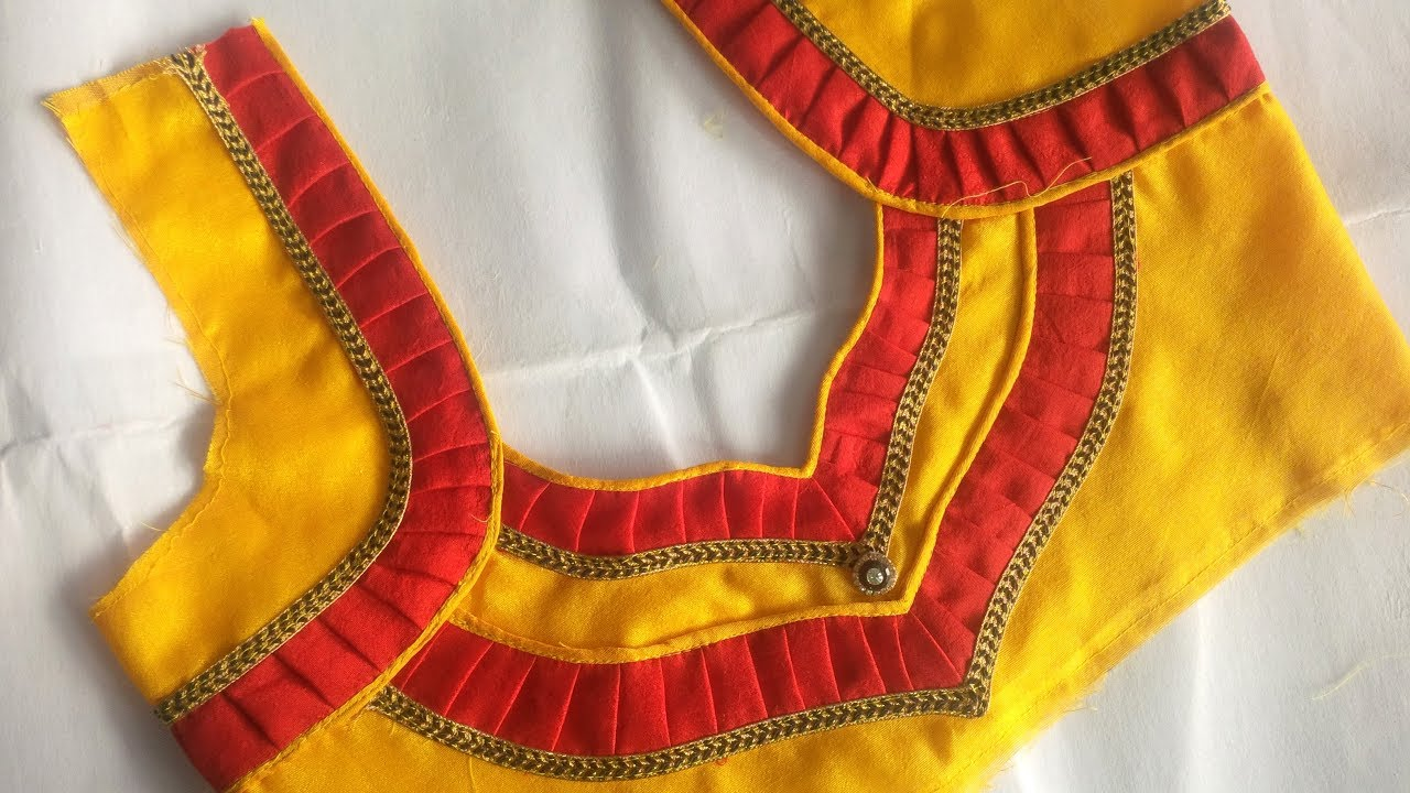 very beautyful blouse back neck design cutting and stitching at home