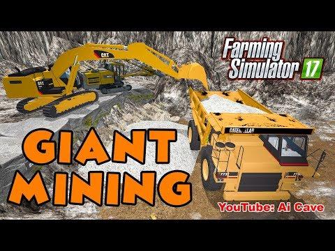 Farming Simulator 2017 Mods - Caterpillar Giant Mining Equipment | Hauling Road To A Stone Quarry