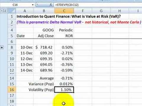 FRM: Intro To Quant Finance: Value At Risk (VaR)