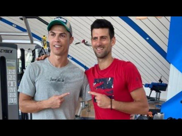Cristiano Ronaldo geeft Novak Djokovic springles