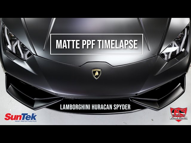 THE BEST MATTE PPF CAR WRAP TIME-LAPSE Lamborghini Huracan Evo Spyder in 4k - Suntek Ultra