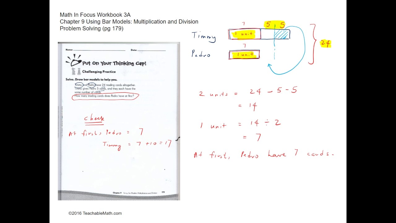 MIF Workbook 3A Solutions Ch.9 Using Bar Models Multiplication ...