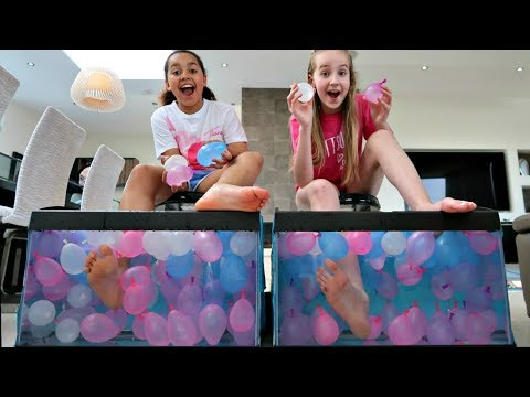 WHAT'S IN THE BOX CHALLENGE - UNDERWATER Feet Edition   Toys AndMe