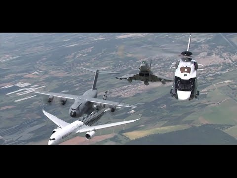 Airbus Family:  H160, A400M, A350, Eurofighter, flying together (extended - promo video clip)