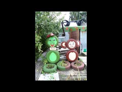 видео: Садовые фигуры из покрышек