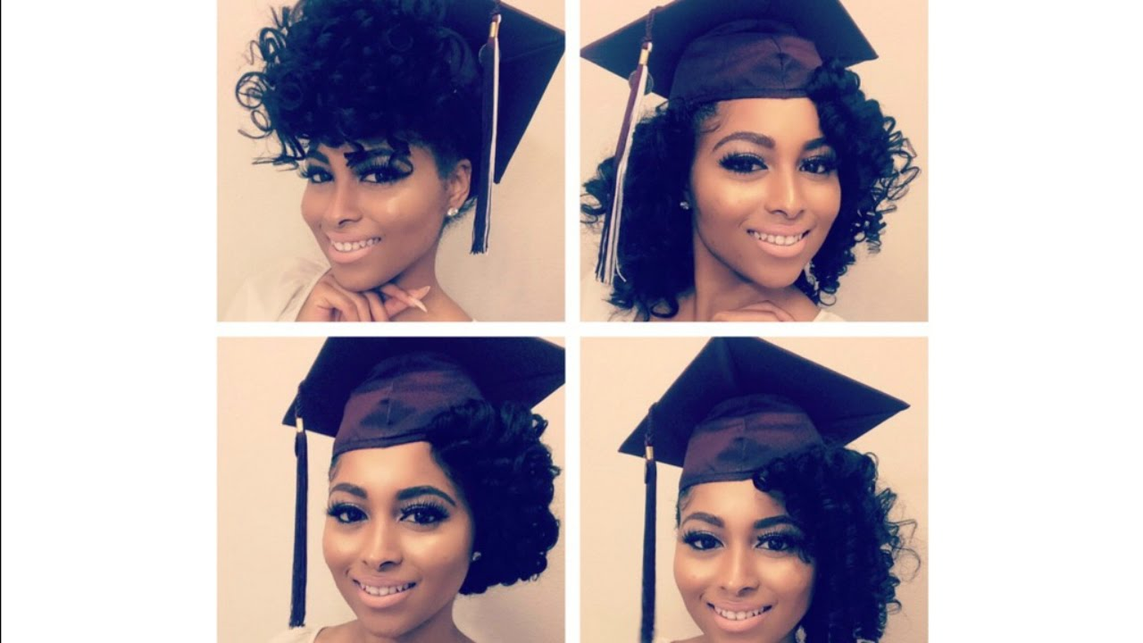 how to| curly natural hair graduation cap styles/prom/special occasions tutorial: perm rod set