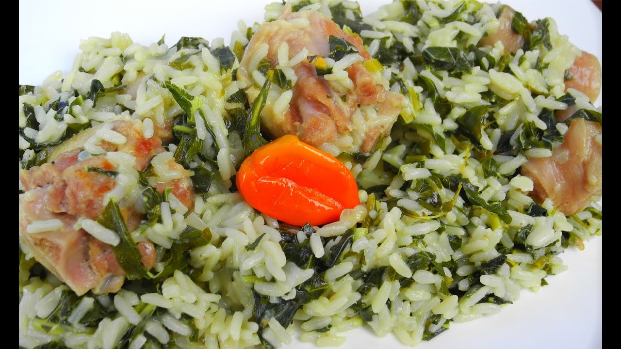 spinach rice simmered in coconut milk and salted pigtail