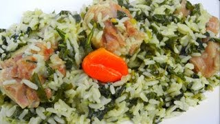 Spinach Rice Simmered In Coconut Milk And Salted Pigtail.