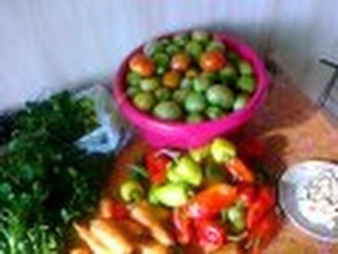 Рецепт Помидоры зелёные  маринованные (квашеные) с начинкой.