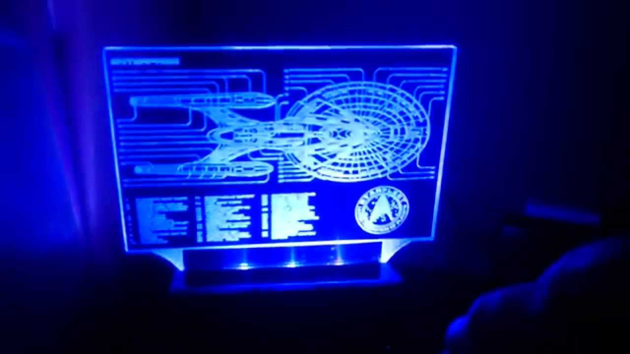Star Trek Enterprise fan made desk lamp LED acrylic edge