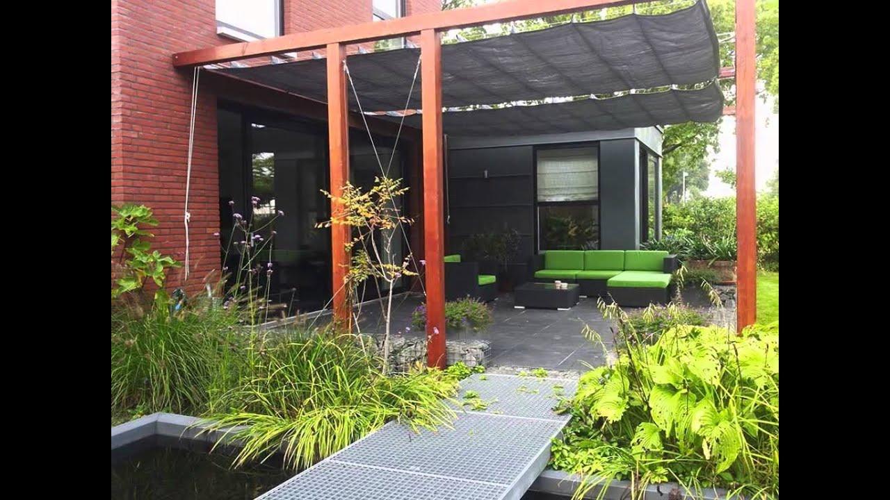 Schaduw lounge moderne pergola met schaduwdoek youtube