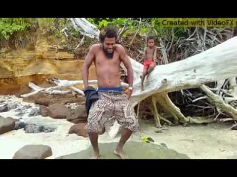 Vanuatu boys funny dancing moves before swimming. LOL