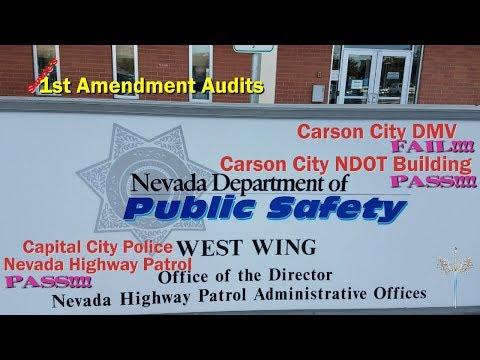 1st Amendment Audit - DMV and NDOT in Carson City (2 cops show up) - Fail, Pass, Pass!