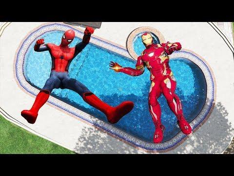 GTA 5 Spider-Man & Iron Man Ragdolls
