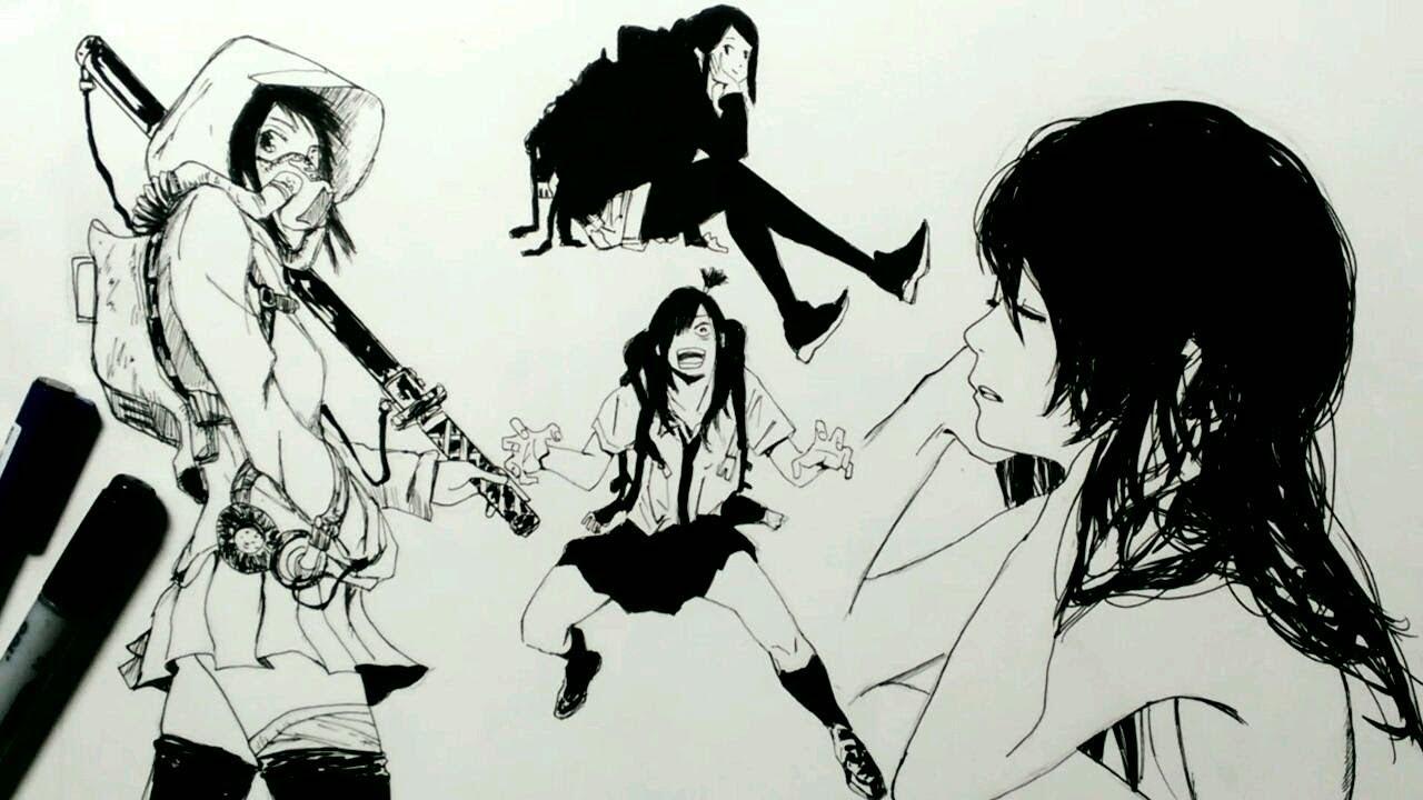 コピック女の子4人描いてみた 刀とか線画 Youtube