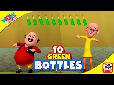 10 Green Bottles - Motu Patlu Rhymes in English - Wowkidzjr - ENGLISH SUBTITLES!