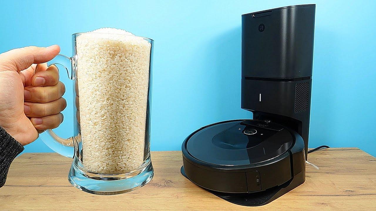 Сможет ли iRobot Roomba i7+ убрать 1 КГ риса БЕЗ замены пылесборника?