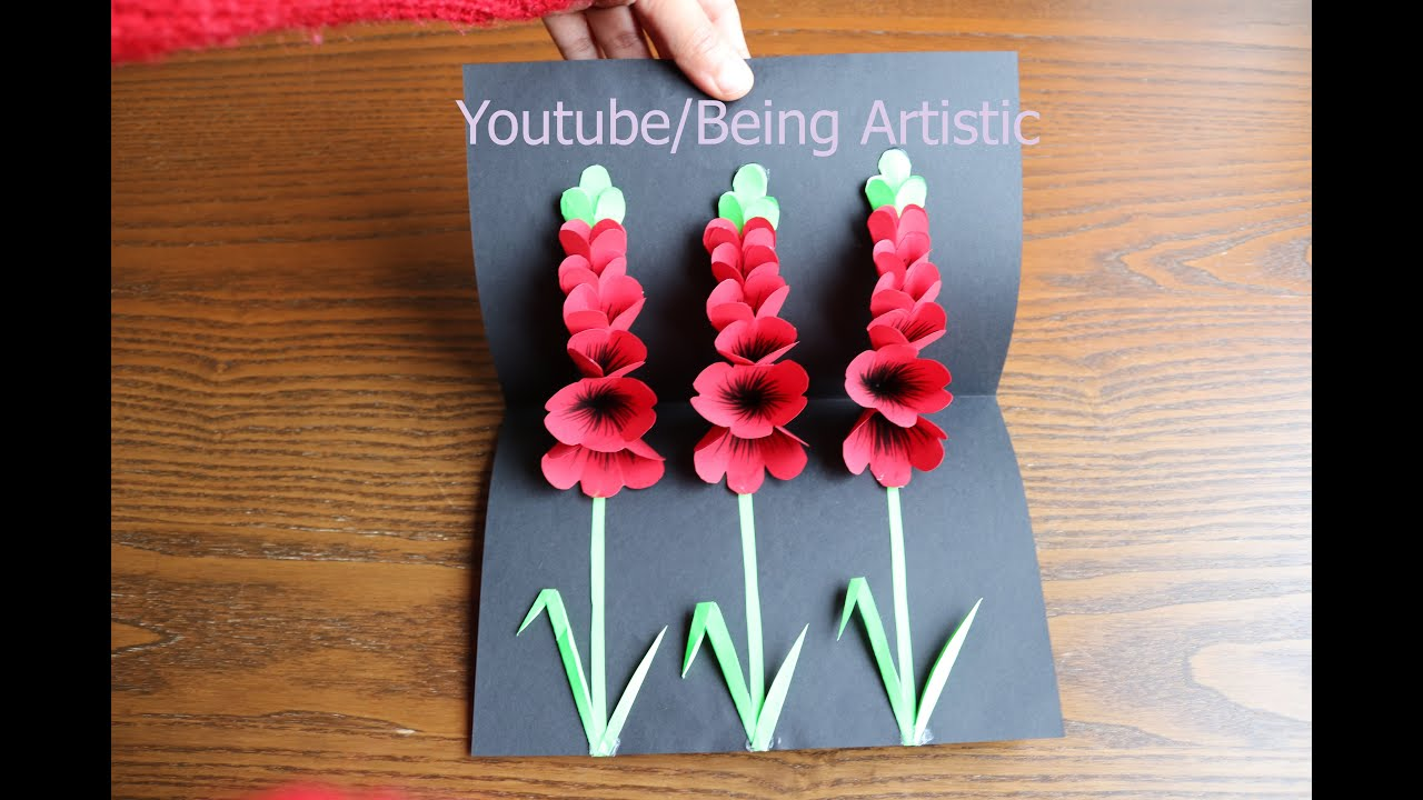 Paper Flower Pop Up Card 9 Paper Crafts Greeting Card Paper Flower Youtube
