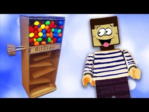 Кто съел все конфеты M&M`s из автомата - НУБ из МАЙНКРАФТ ! Как сделать диспенсер из картона ?