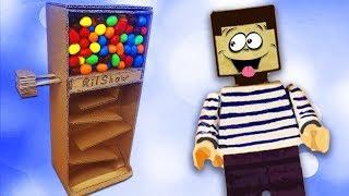 Кто съел все конфеты M\u0026M`s из автомата - НУБ из МАЙНКРАФТ ! Как сделать диспенсер из картона ?