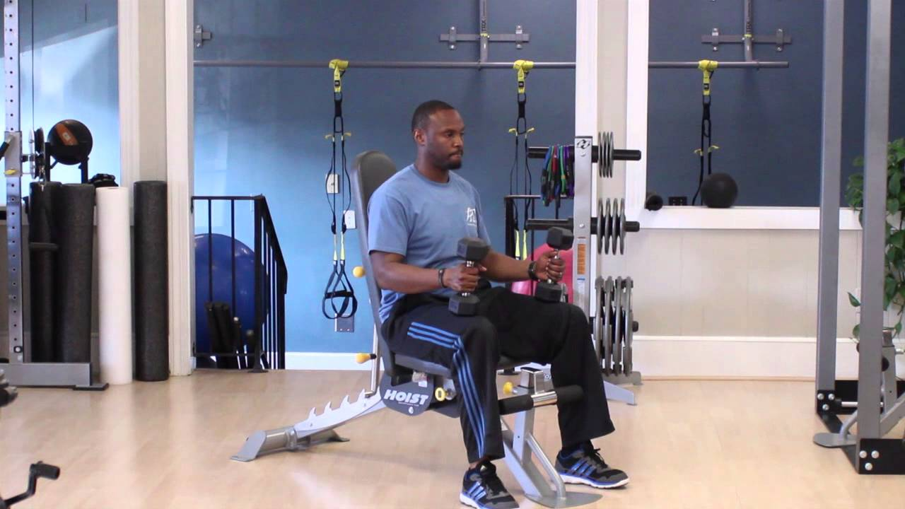 Arm Exercise With Dumbells Sitting Down : Getting Fit