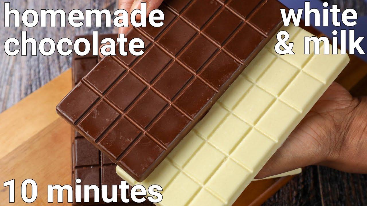 homemade white chocolate & milk chocolate recipe | homemade chocolate bars recipe